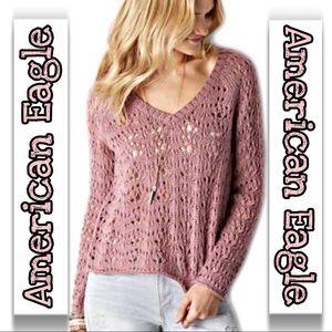 American Eagle | Open Knit Wool Blend Sweater SZ L